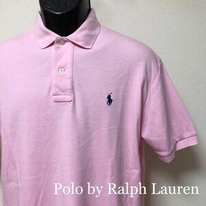 90s 【Polo by Ralph Lauren】ポロ ラルフローレン/ メンズ S ピンク 半袖シャツ ポロシャツ コットン トップス ロゴ刺繍 アメカジ USA古着