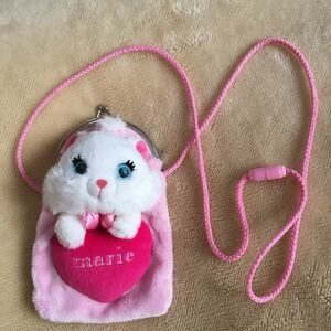 ふわふわ もこもこ ハート ピンク がま口 がまぐち マリー marie disney ディズニー 猫 キャット ポシェット バッグ ショルダー ポーチ