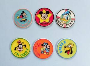 1970年代 Monogram Products社 ディズニー ミッキーマウス・ミニーマウス・ドナルドダック バッジ モノグラム 昭和レトロ 当時物