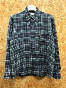 Crocodile クロコダイル M メンズ ボタンダウンシャツ チェック ロゴ刺繍 胸ポケット 長袖 綿100% ネイビー×ホワイト×グリーン×イエロー
