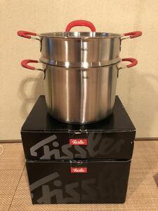 展示品 フィスラー Fissler 両手鍋 レッドハンドル シチューポット 蒸し器  24cm ガス火/IH対応