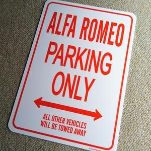パーキングオンリー サイン 看板 ガレージに アルファロメオ ALFA ROMEO アルファ スパイダー ブレラ ジュリエッタ ステルヴィオ ミト MITO
