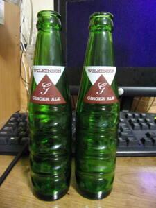 レア ビンテージ WILKINSON(ウィルキンソン)GINGER ALE(ジンジャーエール)瓶 2本セット 送料無料。アンティーク