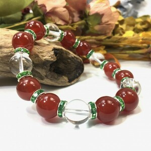 赤瑪瑙&水晶 パワーストーン ブレスレット 天然石ブレス (グリーン) 12mm 幸運 開運 メンズ 男性