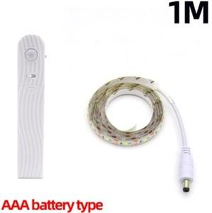 LEDテープライト 間接照明 赤外線センサー防水LEDストリップライトワードローブ階段【色:warm white: 1M-Battery type】