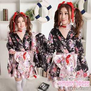 映えを狙う可愛い着物コスチューム☆和服、和装コスプレ♪装飾品付きセットwwハロウィン♪年末年始イベントコスチューム等に