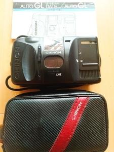 お手軽 操作簡単 持ち運び便利 チノン コンパクトカメラ オートGL AUTO GL ブラック 取説 専用革ケースつき レトロ フイルム式