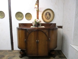6514a ◆サイドボード*キャビネット*木製*飾り棚*食器棚*収納家具*イギリス*英国*アンティーク*家具*SIDEBOARD