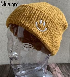 帽子 リブ編み スマイル刺繍 ショートワッチ ニット帽 ニットキャップ ダブルワッチ ロール メンズ レディース 男女兼用 秋 冬
