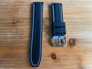 【22mm】シリコン ラバー ブラック 黒(グレー ライン)裏面グレー 灰色 バネ棒付き / 時計ベルト 時計バンド ラバーベルト ラバーバンド