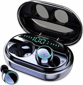 【令和最新版 LEDディスプレイ蓋を開けてペアリング完了】Bluetooth イヤホン IPX8防水 独立On/Offイヤホン LED電池残量インジケーター付き
