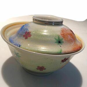 陶器 紅葉柄 蓋付茶碗