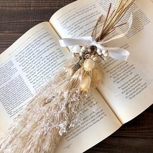 星月猫★「ホワイトニゲラ2種類とパンパスグラスの一輪挿し用スワッグ」ドライフラワースワッグ 花束