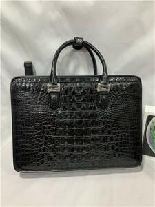 激安~クロコダイルレザー 天然ワニ革 ブリーフケース トート 書類鞄 バッグ ビジネスバッグ ハンドバッグ メンズ 手提げ 本革 2WAY A4対応