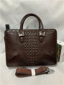 天然ワニ革 クロコダイルレザー ブリーフケース 書類鞄 トートバッグ ビジネスバッグ ハンドバッグ メンズバッグ 本革 2WAY A4対応 鞄