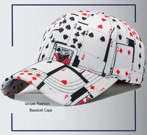 x095a  ポーカープリント スナップバック帽子 プリント柄野球帽 コットン素材 男女兼用