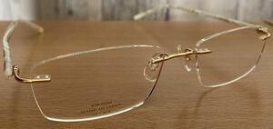 【送料無料!】日本製 最高級 K18 金無垢 F-7002 MADE IN JAPAN F-SERIES 52□17-140 縁無し ツーポイント 18K 各刻印有り 眼鏡 フレーム