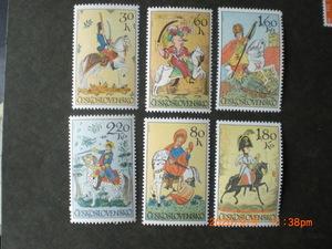 18世紀のタイル画ー人と馬 6種完 未使用 1972年 チェコスロバキア共和国 VF/NH