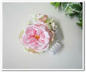 格安特価◆アートフラワー造花◆ハンドメイド ピンクローズのコサージュ オールドローズ*卒園式 入学式 卒業式 結婚式 二次会 式典など