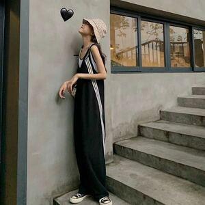 サロペット 3ライン オールインワン キャミソール オーバーオール パンツ 韓国 オルチャン 体型カバー ワンピース ブラック 黒