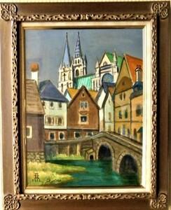 真作保証 鈴木亜夫 「シャルトルの町」油彩12号 東京国立近代美術館収蔵画家 見ごたえのある絵画・色彩も豊か