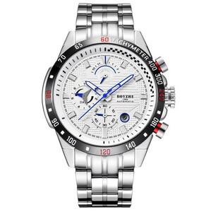 ☆送料無料☆ メンズ腕時計 機械式 自動巻き 45mm 多機能 カレンダー 曜日表示 紳士ウォッチ 夜光 防水 男性 スポーツ シルバー