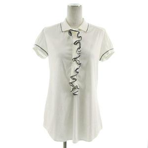 エルマノシェルビーノ ERMANNO SCERVINO ポロシャツ 半袖 フリル 切替 オフ白 ネイビー 紺 38