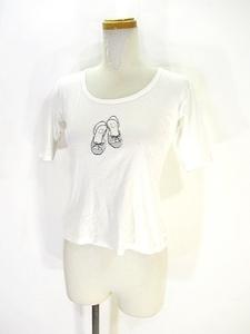 クミキョク 組曲 KUMIKYOKU Tシャツ カットソー 半袖 プリント ラメ 2 ホワイト 白