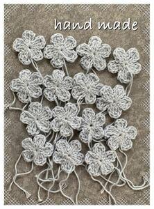 花モチーフ  かぎ針編み cotton 水色