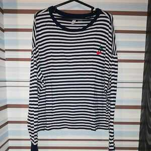 H&M DIVIDED さくらんぼチェリー柄 ボーダーカットソー 長袖 M~L 222