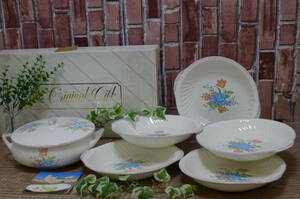 gg433● デッドストック 昭和レトロ KAKUHAN アンティーク調の陶磁器 上品な花柄のスープ皿とスープポットのセット スープチューリン/100