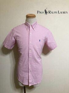 【美品】 Polo Ralph Lauren ポロ ラルフローレン ボタンダウン ギンガムチェック シャツ トップス サイズS 170/92A 半袖 ピンク 白