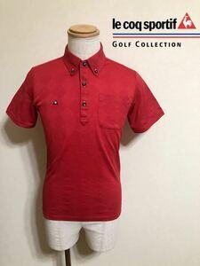 【美品】 le coq sportif golf ルコック ゴルフ ウェア アーガイル柄 ボタンダウン 鹿の子 ドライ ポロシャツ サイズM 半袖 赤 QG2662