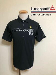 【美品】 le coq sportif GOLF COLLECTION ルコック ゴルフ ウェア トップス ドライ ポロシャツ ブラック サイズLL 半袖 黒 デサントQG2926