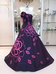 ウェディングドレス カラードレス 薔薇 紫 No.25
