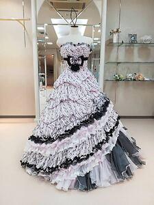 ウエディングドレス カラードレス ピンク リボン No.8