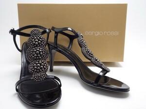 ★sergio rossi セルジオロッシ ビジュー付きエナメルサンダル ブラック 箱/布袋付 イタリア製 scarpe Donna sandal