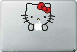 MacBook 対応 アートステッカー キティー Decal (13,15 インチ Macbook Air Pro Retina 対応) かわいい apple リンゴマーク アップル