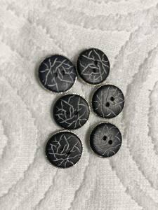 1343 約15㍉ 紺 銀 ボタン 6個セット ビンテージ  未使用品 手芸 裁縫 おしゃれ ハンドメイド DIY リメイク
