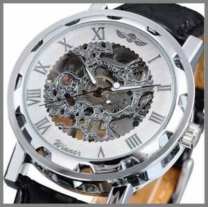 1■新品・未使用■機械式腕時計(白) クロノグラフ アンティーク 正規品 クオーツエルジンウオッチ スケルトン シルバーゴールド ウイナー③