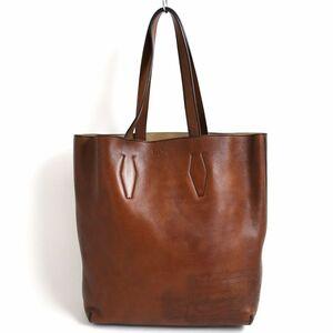 美品◆Berluti ベルルッティ Esquisse カリグラフィ ロゴ刻印入り レザートートバッグ ブラウン イタリア製 保存袋付き メンズ