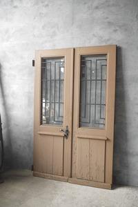 antique France iron .. wood door set door . gate glass store door fittings