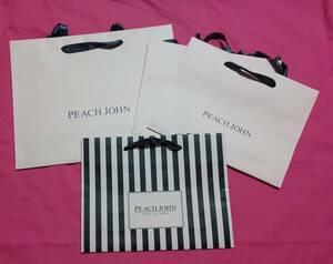 PEACHJOHNピンク黒紙袋ショップ袋4枚セットピーチジョンピーチジョン ロゴ ピンク 黒 ストライプ ショッパー エコバッグ