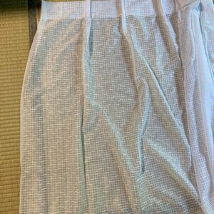 レースカーテン☆ かすり格子柄  白 幅100×135cm ☆新品在庫品《管理MR315》