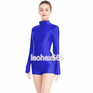 長袖背中ファスナー型レオタード コスプレ衣装 ハイレグレオタード レースクイーンレオタード ブルー Lサイズ