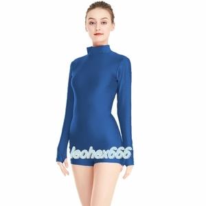 長袖背中ファスナー型レオタード コスプレ衣装 ハイレグレオタード レースクイーンレオタード 藍色 XLサイズ