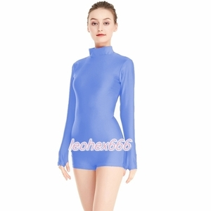 長袖背中ファスナー型レオタード コスプレ衣装 ハイレグレオタード レースクイーンレオタード 水色 Lサイズ