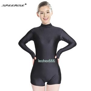 長袖背中ファスナー型レオタード コスプレ衣装 ハイレグレオタード レースクイーンレオタード ブラック XLサイズ