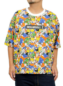 【新品】 3L ホワイト DRAGONBALL(ドラゴンボール) 半袖 Tシャツ メンズ 大きいサイズ キャラクター 総柄 プリント クルーネック カットソ
