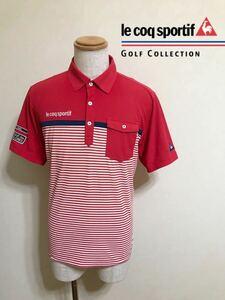 le coq sportif GOLF ルコック ゴルフ ウェア ボーダー ドライ ポロシャツ トップス レッド サイズL 半袖 赤 白 QGL1021CP デサント